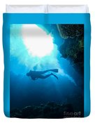Diver At Pakin Atoll Duvet Cover