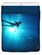 Diver On Mahi Wreck Duvet Cover by Bob Abraham - Printscapes