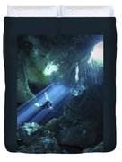 Diver Silhouetted In Sunrays Of Cenote Duvet Cover