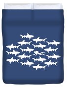 Diver Swimming With Sharks Duvet Cover