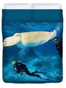 Divers Swim Near A Cuttlefish Duvet Cover