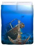 Divers Visit The Pelicano Shipwreck Duvet Cover