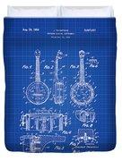 Dixie Banjolele Patent 1954 In Blue Print Duvet Cover