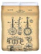 Dixie Banjolele Patent 1954 In Sepia Duvet Cover