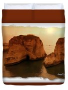 Do-00405 Raouche Sunset Beirut  Duvet Cover