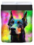 Doberman Pincher Dog Portrait Duvet Cover