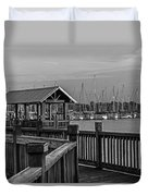 Dock At Mandarin Park Black And White Duvet Cover