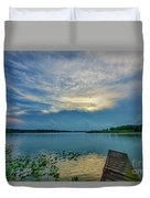 Dock At Shipshewana Lake Duvet Cover