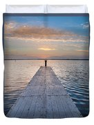 Dock On Arcata Bay At Twilight Duvet Cover