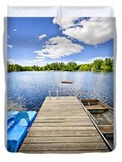 Dock On Lake In Summer Cottage Country Duvet Cover