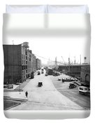Dock Scene In New York City Duvet Cover