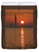 Dock Tower Sunrise Duvet Cover