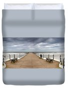 Dock With Benches, Saltburn, England Duvet Cover