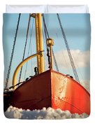 Docked At The Snowfront Duvet Cover