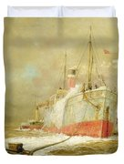Docking A Cargo Ship Duvet Cover