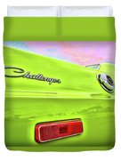 Dodge Challenger In Sublime Green Duvet Cover