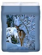 Doe In The Snow In Spokane 2 Duvet Cover
