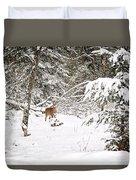 Doe In Winter Snow  Duvet Cover