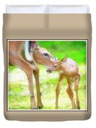 Doe Nuzzles Her Fawn Duvet Cover