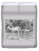 Doe With Twins Pencil Rendering Duvet Cover