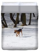 Dog And Winter Duvet Cover