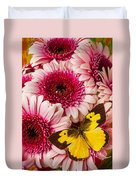 Dog Face Butterfly On Pink Mums Duvet Cover