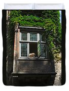 Dog In A Window Above The Canal In Bruges Belgium Duvet Cover