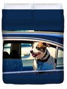 Dog In Car Duvet Cover