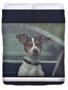 Dog Looking Out Car Window Duvet Cover