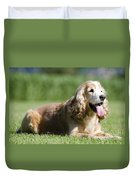 Dog Lying Down On The Green Grass Duvet Cover