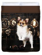 Dog On A Dark Background In The Style Of Steampunk Duvet Cover