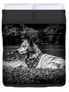Dog On The Lake Duvet Cover