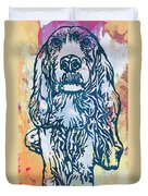 Dog Pop Etching Art Poster Duvet Cover