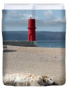Dog Sleeping On The Beach In Front Of Red Lighthouse Of Cres Duvet Cover