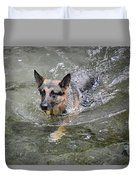 Dog Swimming In Cold Water Duvet Cover