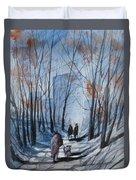 Dog Walking 2, Watercolor Painting Duvet Cover