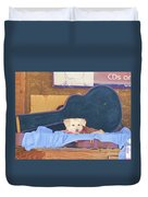 Doggy In The Guitar Case Duvet Cover
