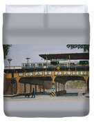 Dogs And Trains In The Village Duvet Cover