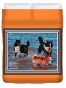 Dogs Playing On The Beach No. 2 L A With Decorative Ornate Printed Frame. Duvet Cover
