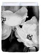 Dogwood Blossoms - Black And White Duvet Cover