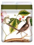 Dogwood  Cornus Florida, And Mocking Bird  Duvet Cover