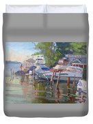Docks At The Shores  Duvet Cover