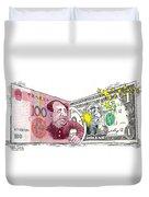 Dollar Vs Yen Duvet Cover