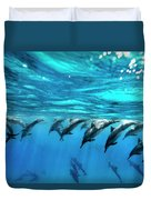 Dolphin Dive Duvet Cover by Sean Davey