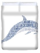 Dolphin Illustrated With Cities Of Florida State Duvet Cover