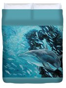 Dolphin With Small Fish Duvet Cover