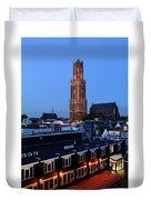 Dom Tower In Utrecht At Dusk 24 Duvet Cover
