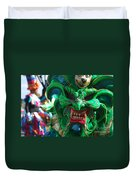 Dominican Republic Carnival Parade Green Devil Mask Duvet Cover