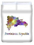 Dominican Republic In Watercolor Duvet Cover