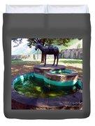 Donkey Fountain Duvet Cover